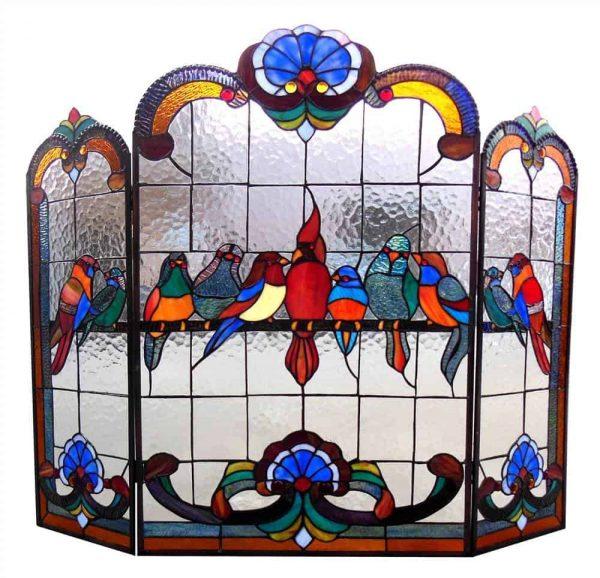 "CHLOE Lighting AVES Tiffany-glass Gathering Birds Design 3pcs Folding Fireplace Screen 40"" Wide 1"