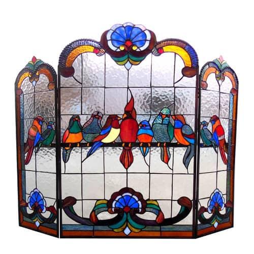 "CHLOE Lighting AVES Tiffany-glass Gathering Birds Design 3pcs Folding Fireplace Screen 40"" Wide"