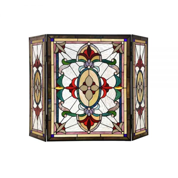 "CHLOE Lighting AYLEE Tiffany-style 3pcs Folding Victorian Fireplace Screen 44"" Wide"