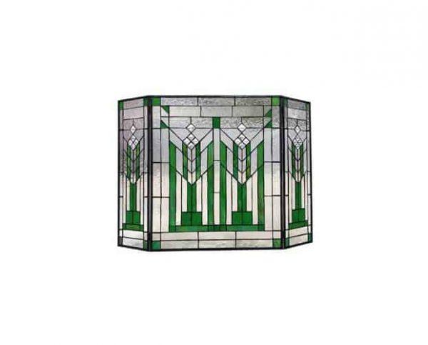 "CHLOE Lighting BENJAMIN Mission 3pcs Folding Tiffany-glass Fireplace Screen 38"" Wide"