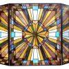 "CHLOE Lighting FLARE Tiffany-glass Mission 3pcs Folding Fireplace Screen 38"" Wide 2"