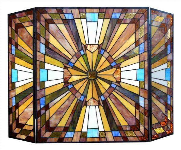 "CHLOE Lighting FLARE Tiffany-glass Mission 3pcs Folding Fireplace Screen 38"" Wide 1"