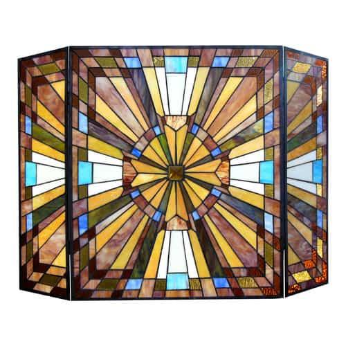 "CHLOE Lighting FLARE Tiffany-glass Mission 3pcs Folding Fireplace Screen 38"" Wide"