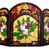 "CHLOE Lighting IGGY Tiffany-glass Floral Design 3pcs Folding Fireplace Screen 42"" Wide 2"