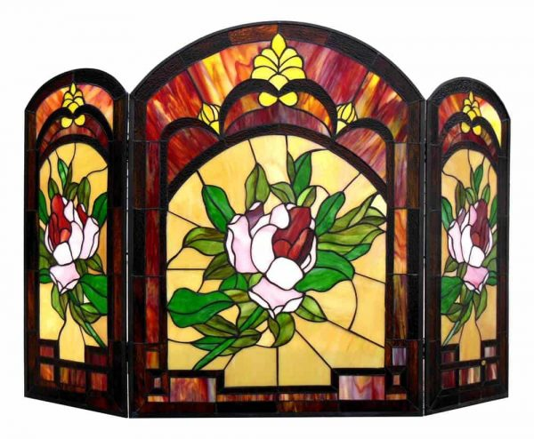 "CHLOE Lighting IGGY Tiffany-glass Floral Design 3pcs Folding Fireplace Screen 42"" Wide 1"