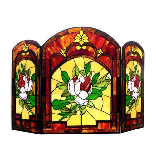 "CHLOE Lighting IGGY Tiffany-glass Floral Design 3pcs Folding Fireplace Screen 42"" Wide"