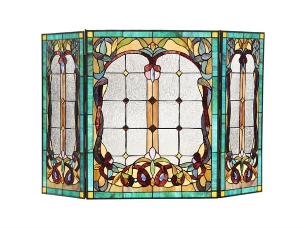 Tiffany-style 3pcs Folding Victorian Fireplace Screen 44x28