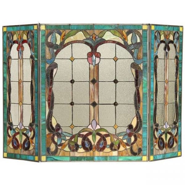 CHLOE Lighting LUCIAN, Tiffany-style 3pcs Folding Victorian Fireplace Screen 44x28 2