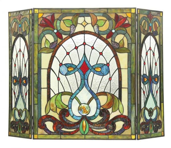"CHLOE Lighting RUBY Tiffany-glass 3pcs Folding Victorian Fireplace Screen 44"" Wide"