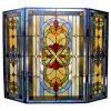 "CHLOE Lighting Tiffany-glass 3pcs Folding Victorian Fireplace Screen 40"" Wide"