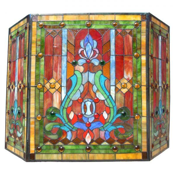 "CHLOE Lighting Tiffany-glass 3pcs Folding Victorian Fireplace Screen 44"" Wide 1"
