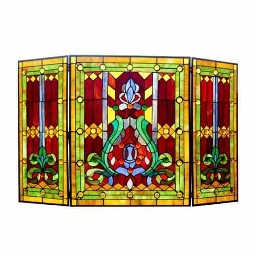 "CHLOE Lighting Tiffany-glass 3pcs Folding Victorian Fireplace Screen 44"" Wide"