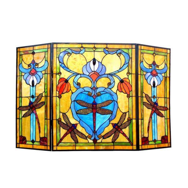 "CHLOE Lighting ZYGO Tiffany-style 3pcs Folding Dragonfly Fireplace Screen 44"" Wide 1"