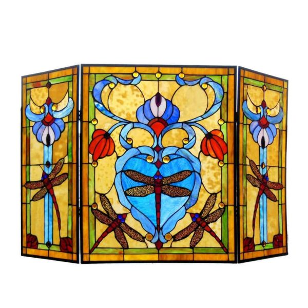 "CHLOE Lighting ZYGO Tiffany-style 3pcs Folding Dragonfly Fireplace Screen 44"" Wide 2"