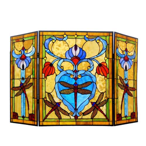 "CHLOE Lighting ZYGO Tiffany-style 3pcs Folding Dragonfly Fireplace Screen 44"" Wide"