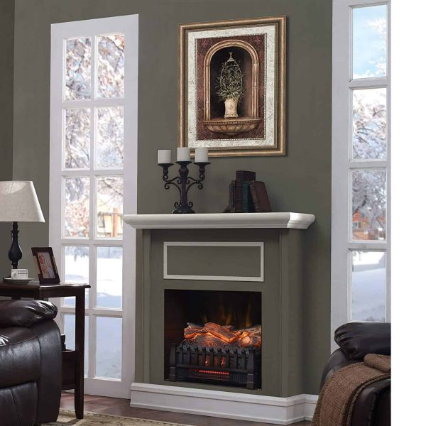 Caesar Fireplace FP201R Stove Adjustable Electric Log Set Heater with Realistic Ember Bed 1500W 11