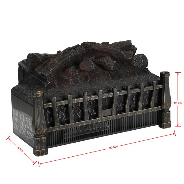 Caesar Fireplace FP201R Stove Adjustable Electric Log Set Heater with Realistic Ember Bed 1500W 6