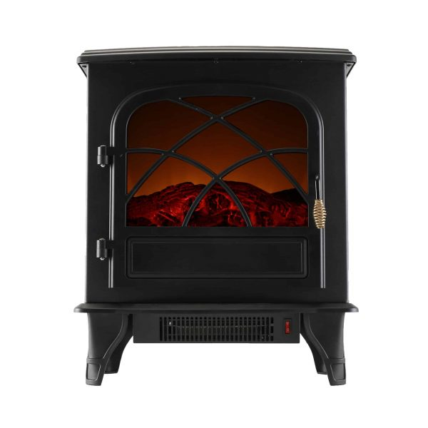 Caesar Fireplace FP203-T3 Portable Indoor Home Compact Electric Wood Stove Fireplace Heater with Thermostat for Office and Home 1500W 14