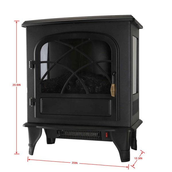 Caesar Fireplace FP203-T3 Portable Indoor Home Compact Electric Wood Stove Fireplace Heater with Thermostat for Office and Home 1500W 2