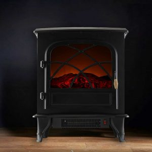 Caesar Fireplace FP203-T3 Portable Indoor Home Compact Electric Wood Stove Fireplace Heater with Thermostat for Office and Home 1500W
