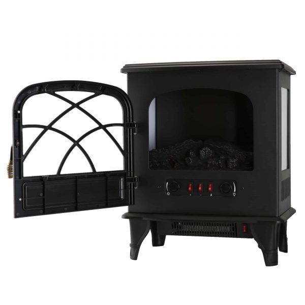 Caesar Fireplace FP203-T3 Portable Indoor Home Compact Electric Wood Stove Fireplace Heater with Thermostat for Office and Home 1500W 5