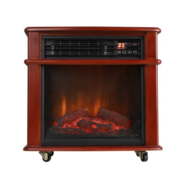 Caesar Fireplace FP404R-QC Infrared Quartz Electric Freestanding Insert Heater Stove Rolling Mantel 1000W-1500W Overheat Safety Feature with wheels 10