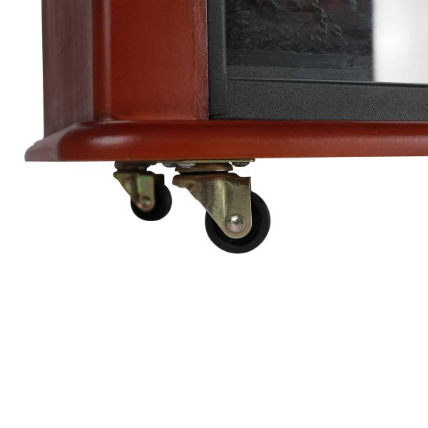 Caesar Fireplace FP404R-QC Infrared Quartz Electric Freestanding Insert Heater Stove Rolling Mantel 1000W-1500W Overheat Safety Feature with wheels 6