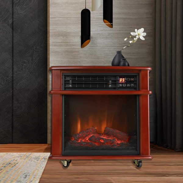 Caesar Fireplace FP404R-QC Infrared Quartz Electric Freestanding Insert Heater Stove Rolling Mantel 1000W-1500W Overheat Safety Feature with wheels