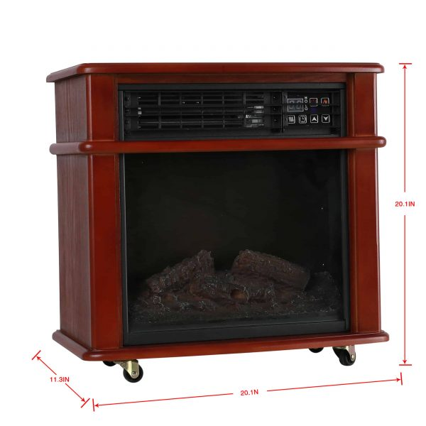 Caesar Fireplace FP404R-QC Infrared Quartz Electric Freestanding Insert Heater Stove Rolling Mantel 1000W-1500W Overheat Safety Feature with wheels 7