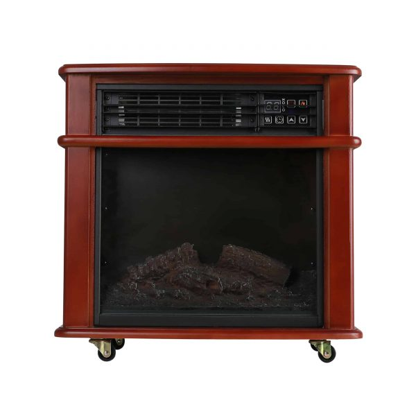 Caesar Fireplace FP404R-QC Infrared Quartz Electric Freestanding Insert Heater Stove Rolling Mantel 1000W-1500W Overheat Safety Feature with wheels 9