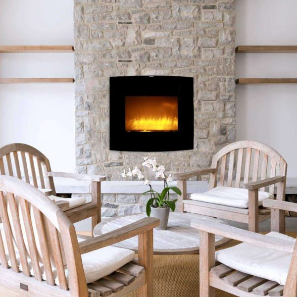 Caesar Fireplace WFP-26C 26-inch Wall Mount Electric Fireplace with stone pebbles and flame effect