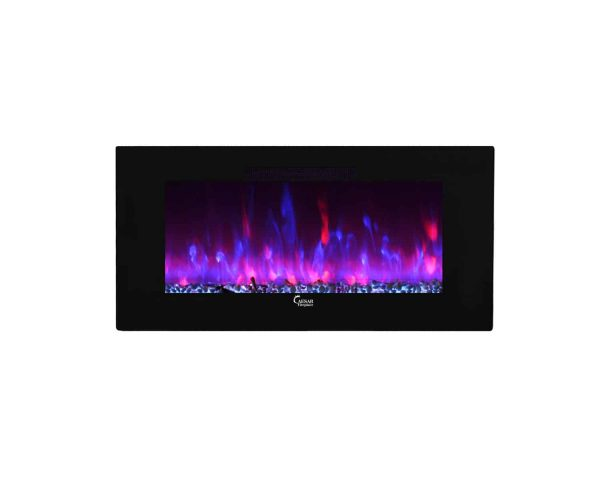 Caesar Luxury CHFP-40B Linear Wall Mount Recess Freestanding Multicolor Flame Electric Fireplace with Backlight, 40-Inch 1