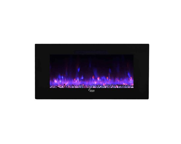 Caesar Luxury CHFP-40B Linear Wall Mount Recess Freestanding Multicolor Flame Electric Fireplace with Backlight, 40-Inch 22