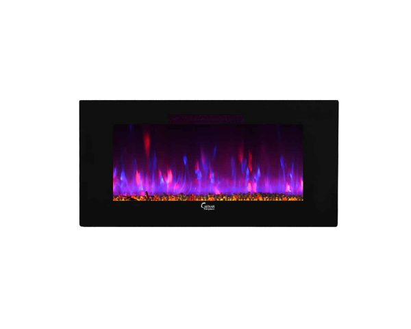 Caesar Luxury CHFP-40B Linear Wall Mount Recess Freestanding Multicolor Flame Electric Fireplace with Backlight, 40-Inch 31