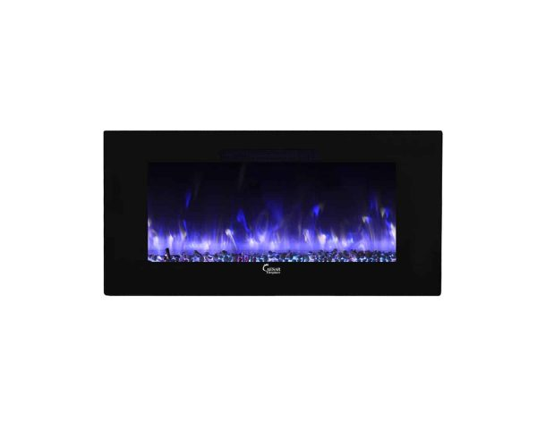 Caesar Luxury CHFP-40B Linear Wall Mount Recess Freestanding Multicolor Flame Electric Fireplace with Backlight, 40-Inch 33