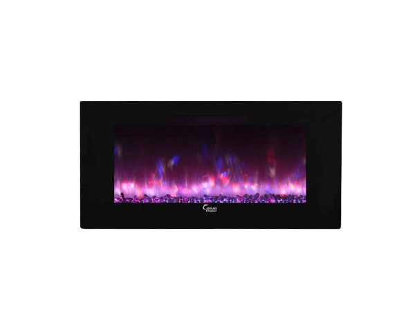 Caesar Luxury CHFP-40B Linear Wall Mount Recess Freestanding Multicolor Flame Electric Fireplace with Backlight, 40-Inch 34
