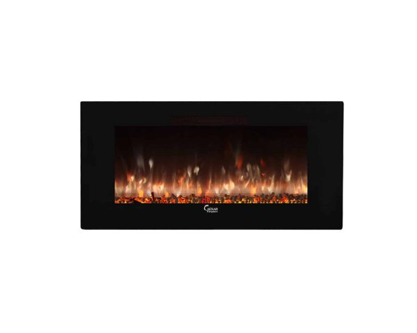 Caesar Luxury CHFP-40B Linear Wall Mount Recess Freestanding Multicolor Flame Electric Fireplace with Backlight, 40-Inch 35