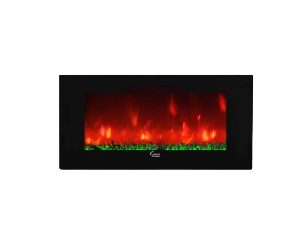 Caesar Luxury CHFP-40B Linear Wall Mount Recess Freestanding Multicolor Flame Electric Fireplace with Backlight, 40-Inch 36