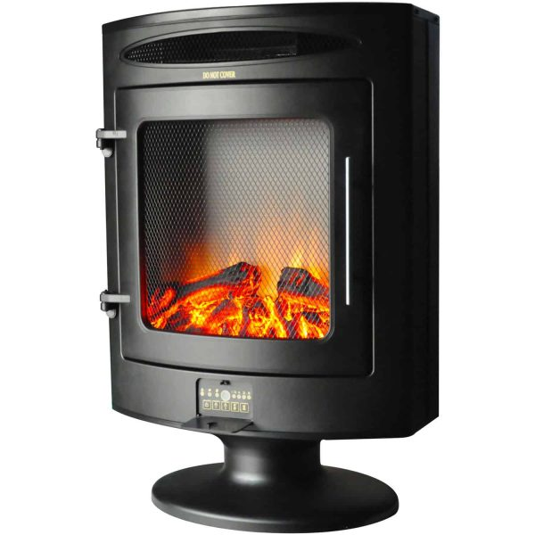 Cambridge 1500W Freestanding Electric Fireplace Heater in Black with Log Display 1