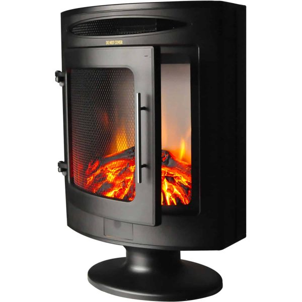 Cambridge 1500W Freestanding Electric Fireplace Heater in Black with Log Display 2