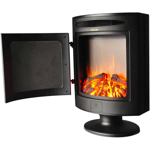 Cambridge 1500W Freestanding Electric Fireplace Heater in Black with Log Display 3