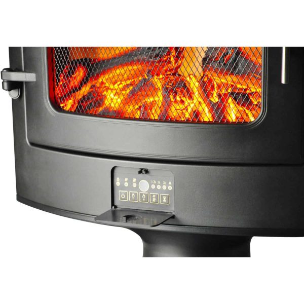 Cambridge 1500W Freestanding Electric Fireplace Heater in Black with Log Display 4