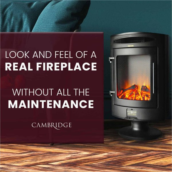 Cambridge 1500W Freestanding Electric Fireplace Heater in Black with Log Display 6