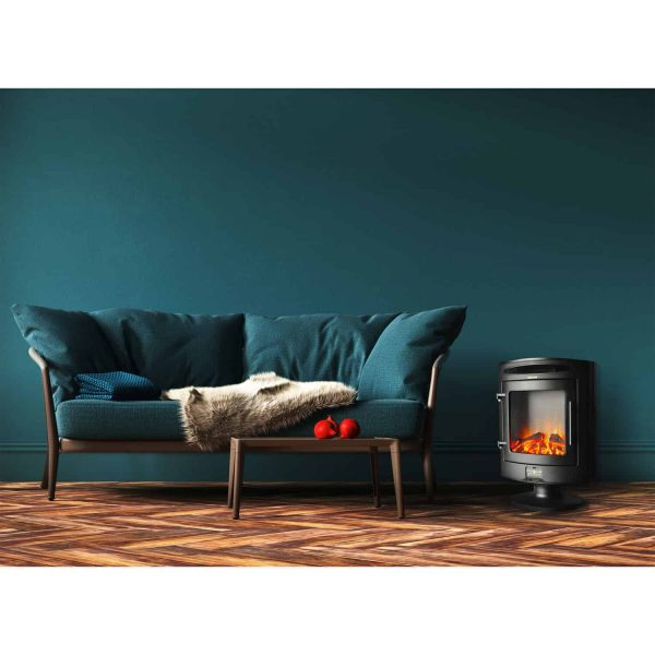 Cambridge 1500W Freestanding Electric Fireplace Heater in Black with Log Display