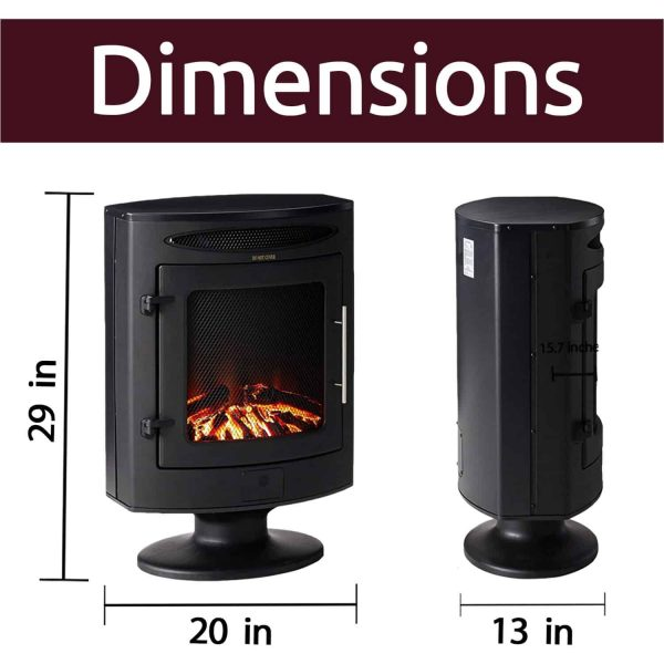 Cambridge 1500W Freestanding Electric Fireplace Heater in Black with Log Display 7