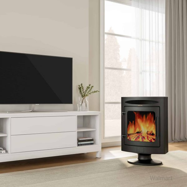 Cambridge 1500W Freestanding Electric Fireplace Heater in Black with Log Display 8