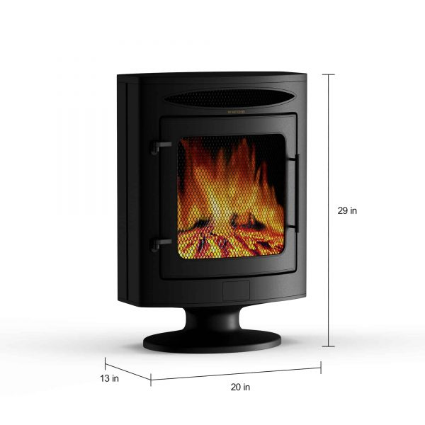 Cambridge 1500W Freestanding Electric Fireplace Heater in Black with Log Display 9
