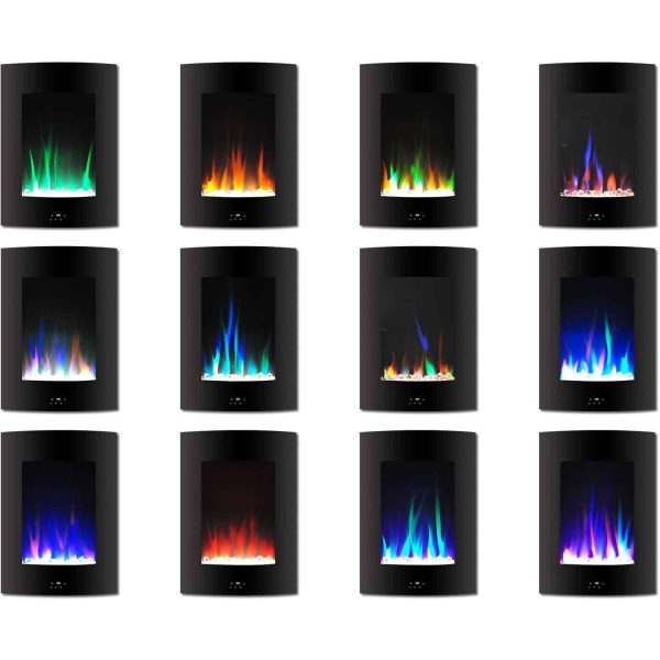 "Cambridge 19.5"" Vertical Electric Fireplace Heater with Multi-Color LED Flames and Crystal Rock Display 1"