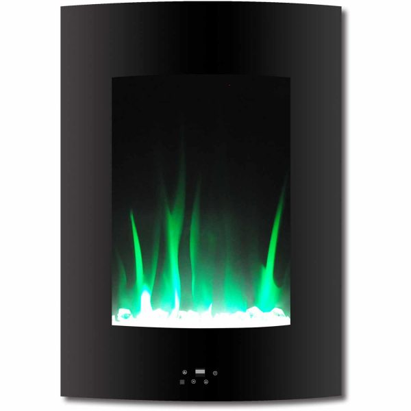 "Cambridge 19.5"" Vertical Electric Fireplace Heater with Multi-Color LED Flames and Crystal Rock Display 3"
