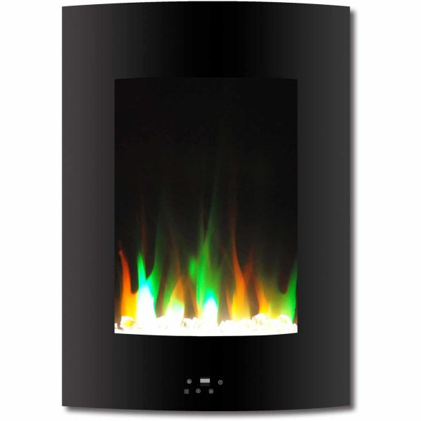 "Cambridge 19.5"" Vertical Electric Fireplace Heater with Multi-Color LED Flames and Crystal Rock Display 4"